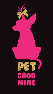 Logo for dog hair salon with vector dog silhouette. Pet grooming salon.