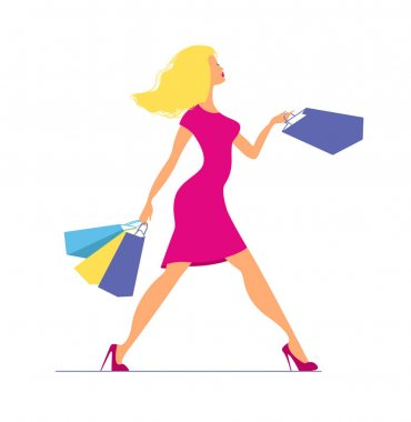 Young blond woman in pink dress walking with shopping bags