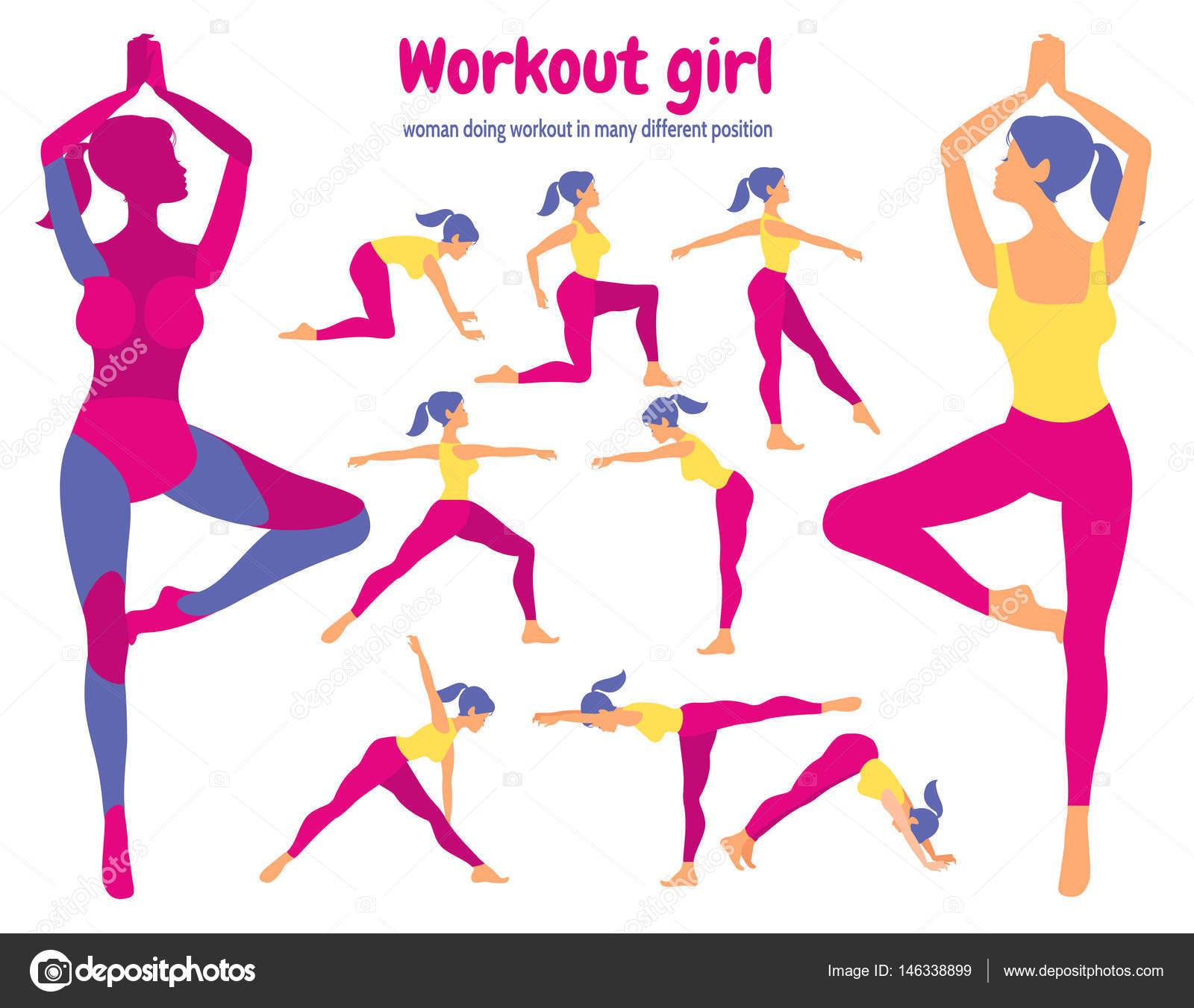 Körper-Training-Set. Pack von Körperteilen. Frau, die Fitness zu tun ...