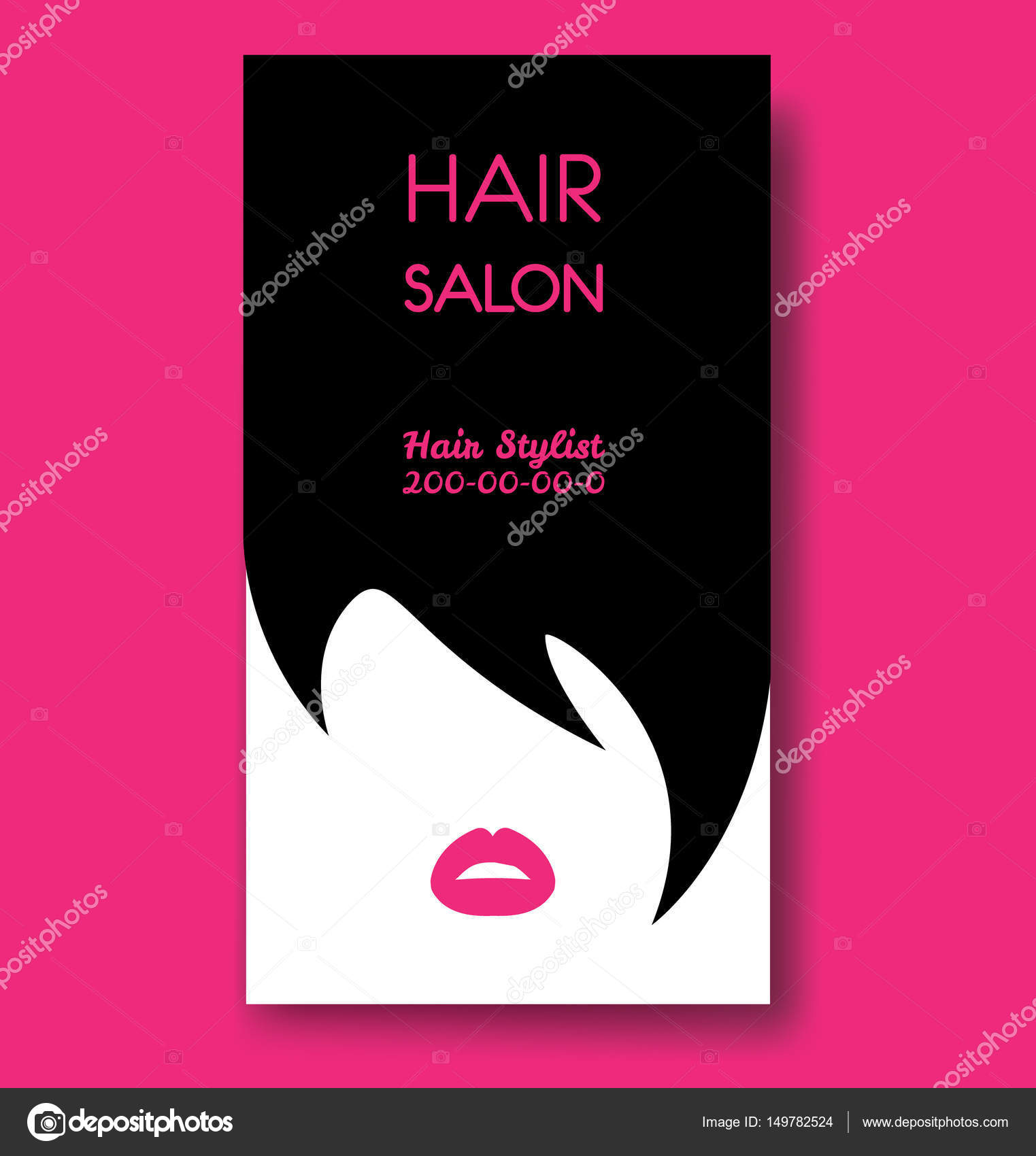 Hair salon business card templates with black hair and beautiful ...