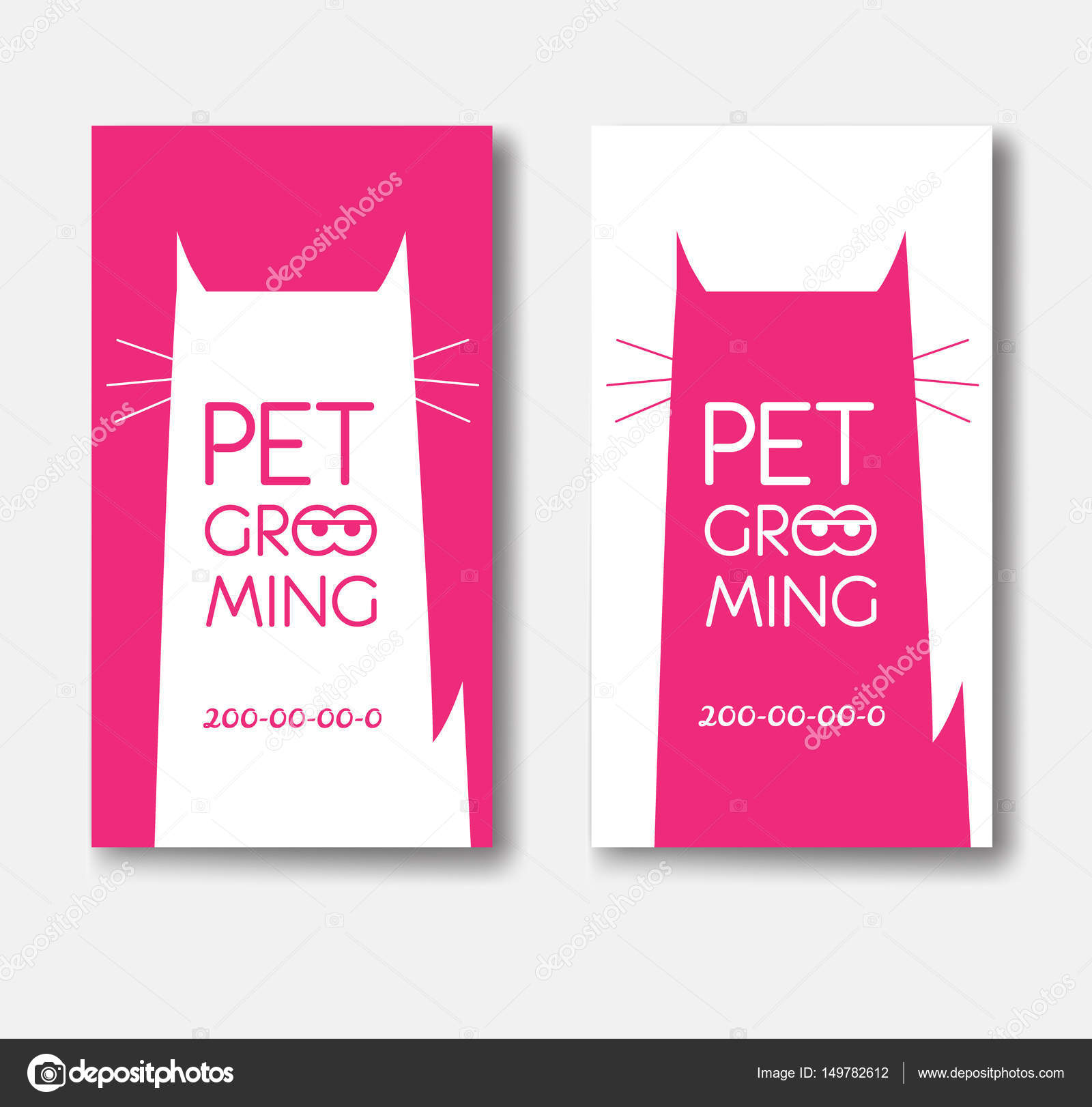 Logo for pet grooming salon with cat silhouette. Animals hair sa ...