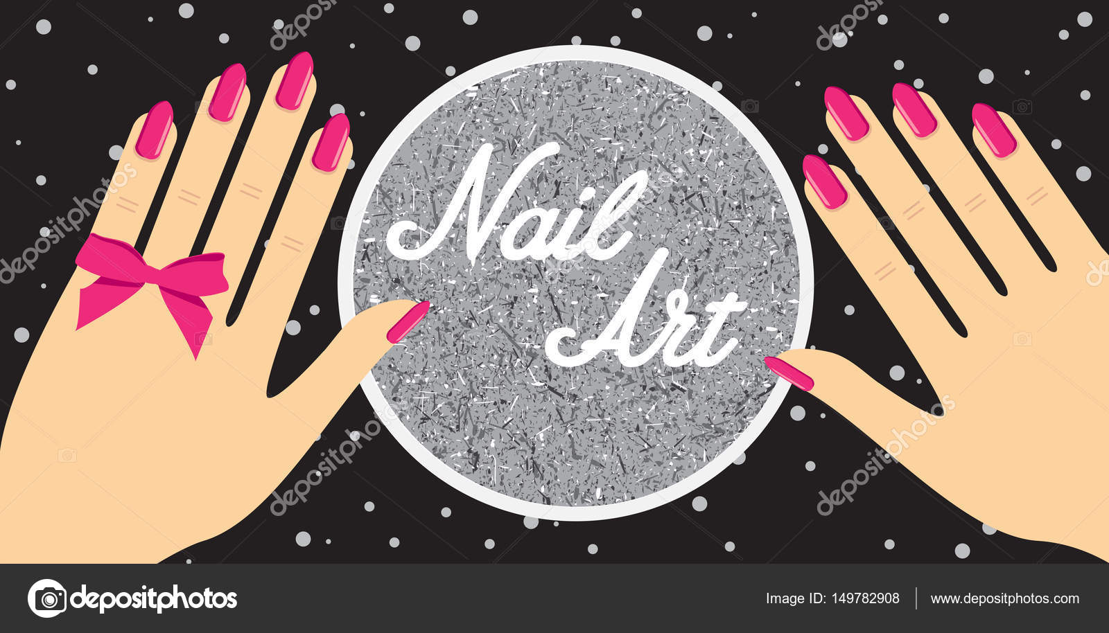 Nail Artwoman Hand With Red Fingernails Gift Certificate For A Nail