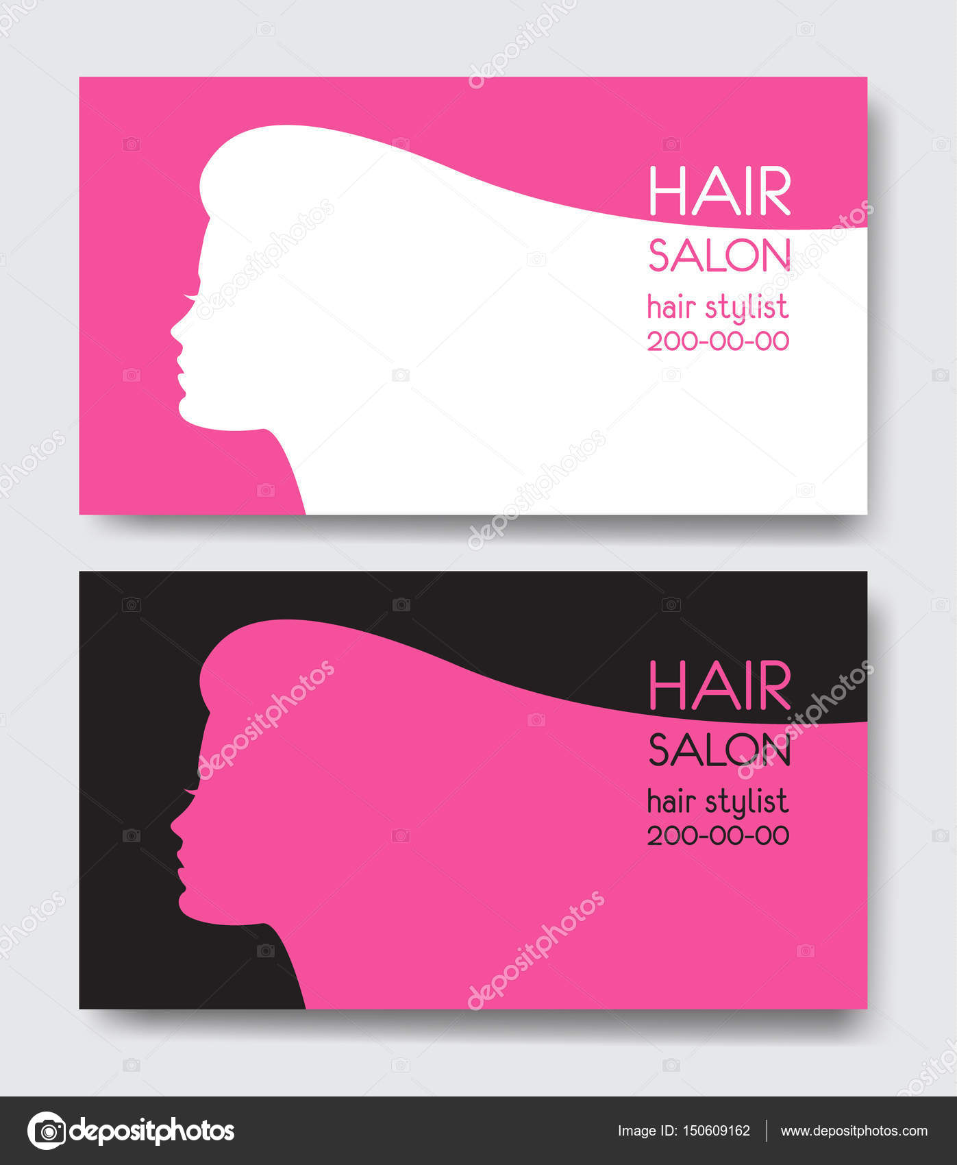 Hair salon business card templates with beautiful woman face sil ...