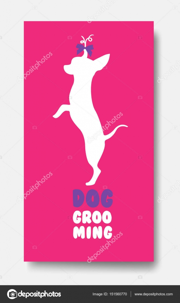 Business card template of pet grooming with little dog chihuahua ...