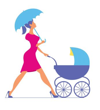 Nanny. Woman walking with a baby carriage. Vector silhouette