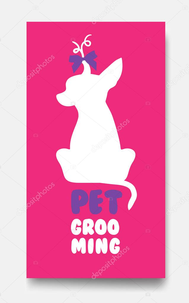Business card template of pet grooming with little sitting dog c