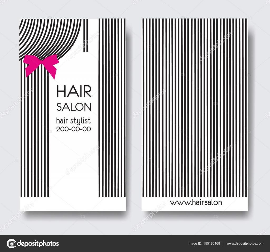 Modele Carte De Visite Design Avec Cheveux Longs Raides Et Archet Avant Arriere Vecteur Par Ty4ina