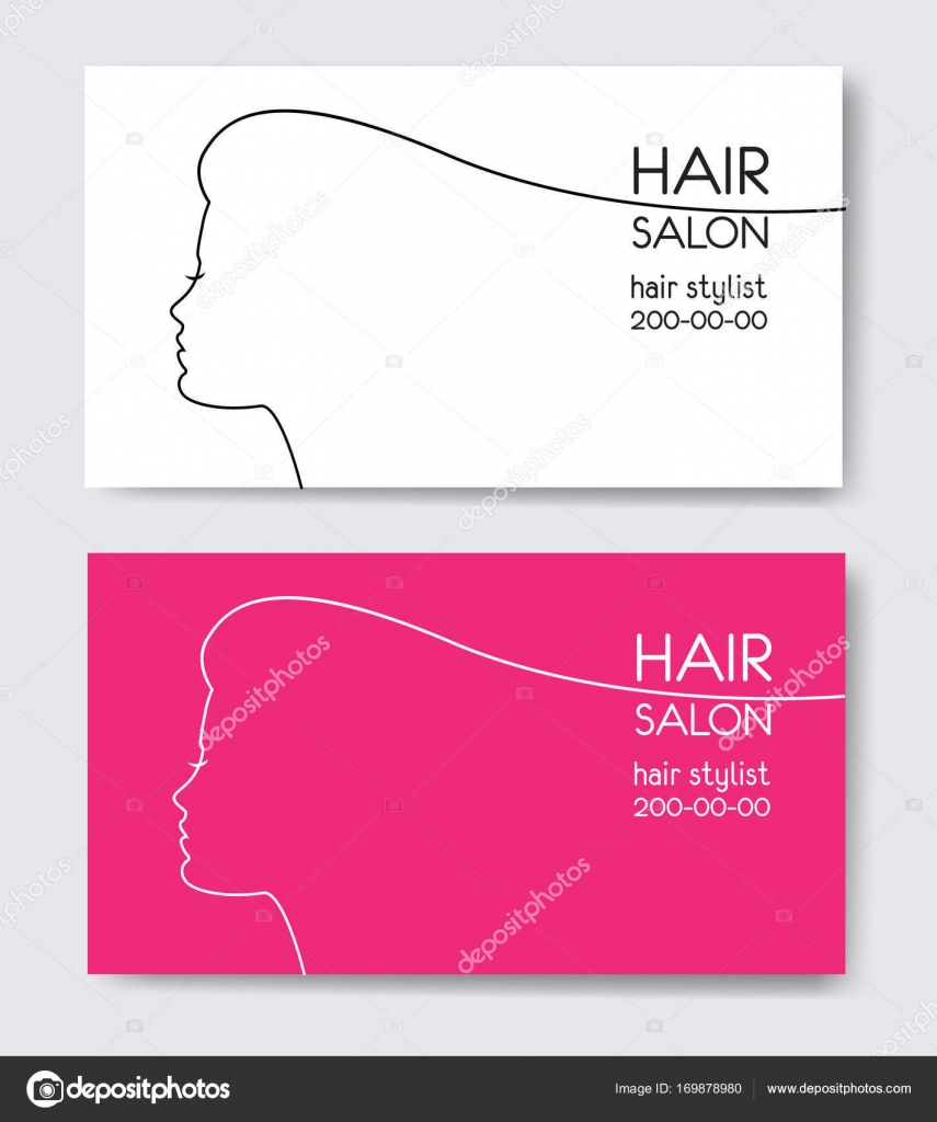 Hair salon business card templates with beautiful woman face sil hair salon business card templates with beautiful woman face sil stock vector accmission Images