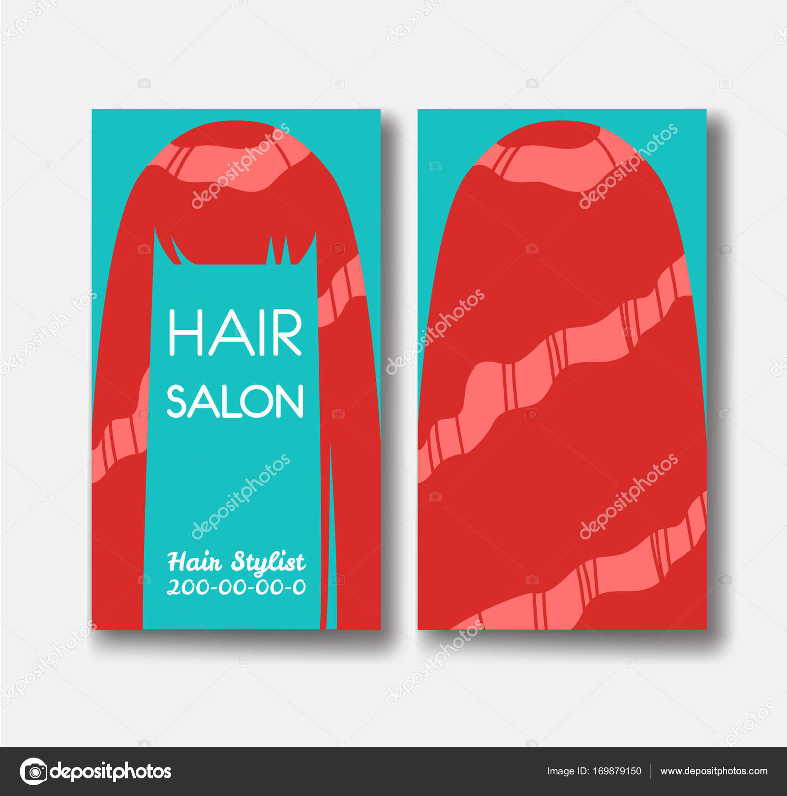 Hair salon business card templates with red hair on green backgr hair salon business card templates with red hair on green backgr stock vector wajeb Choice Image