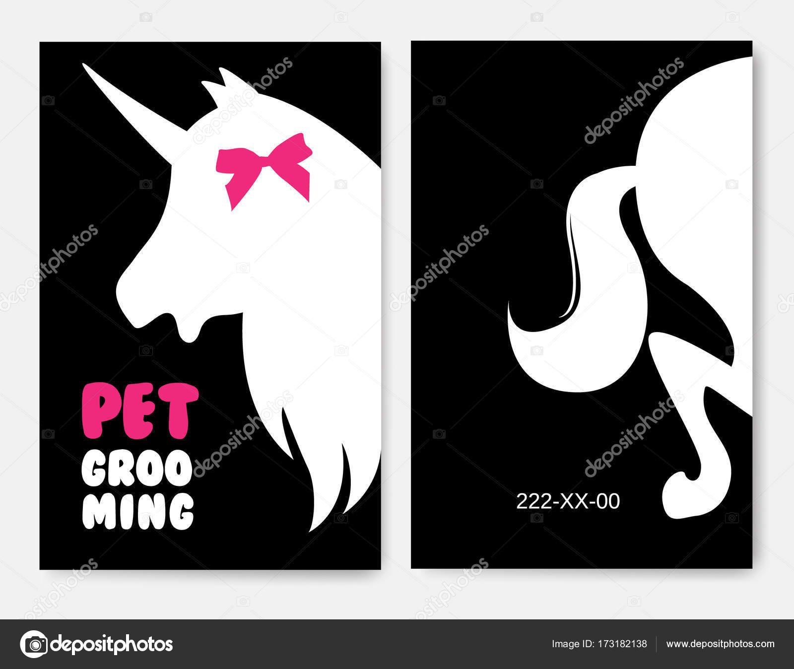Business cards templates of grooming service pet with unicorns ...