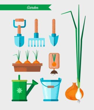 Gardening work tools set. Equipment for working in garden