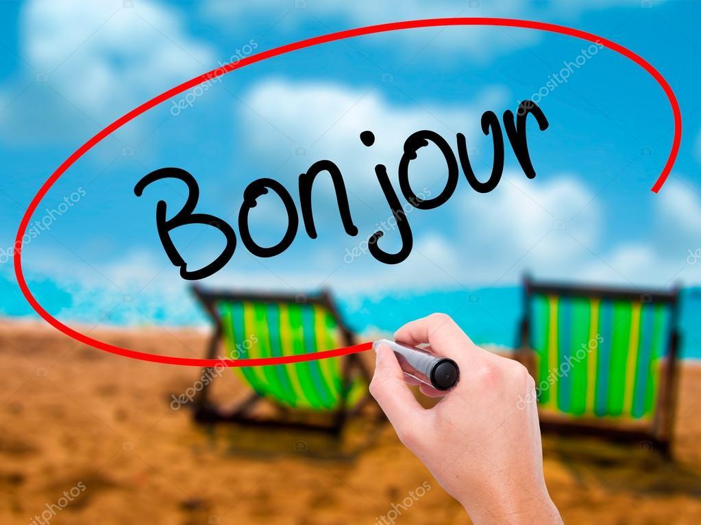 Mão De Homem Escrevendo Bonjour Bom Dia Em Francês Com Ma