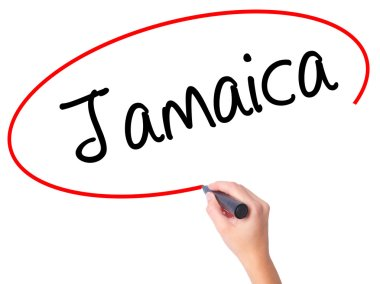 Women Hand writing Jamaica  with black marker on visual screen