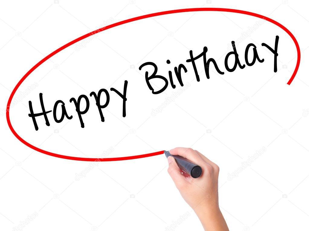 Frauen Handschrift Happy Birthday Mit Schwarzem Filzstift Auf