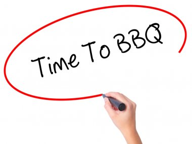 Women Hand writing Time To BBQ with black marker on visual scree