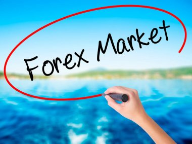 Woman Hand Writing  Forex Market with a marker over transparent