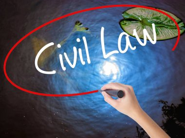Woman Hand Writing Civil Law with marker over transparent board