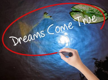 Woman Hand Writing Dreams Come True with marker over transparent