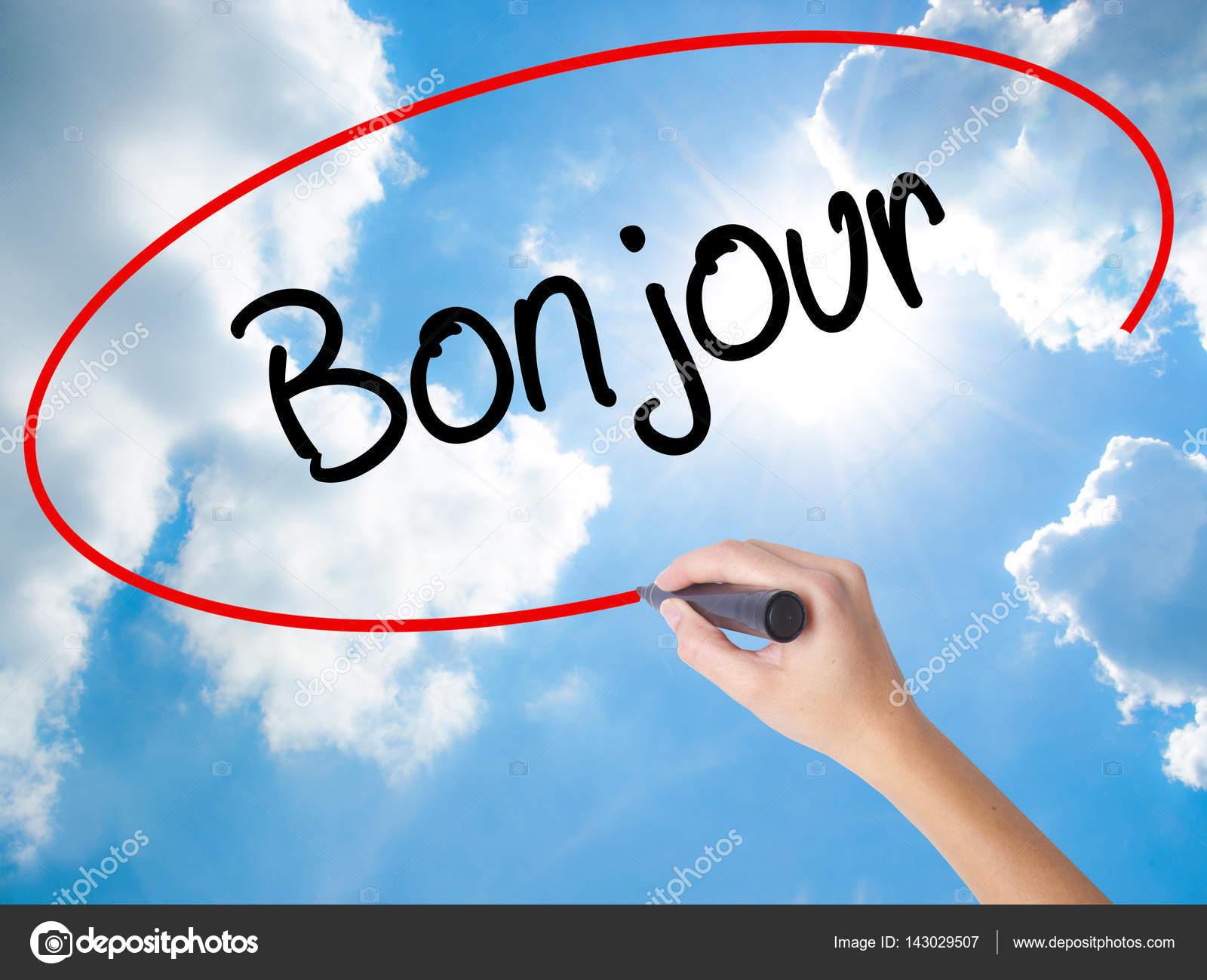 Mulher Mão Escrita Bonjour Bom Dia Em Francês Com Preto