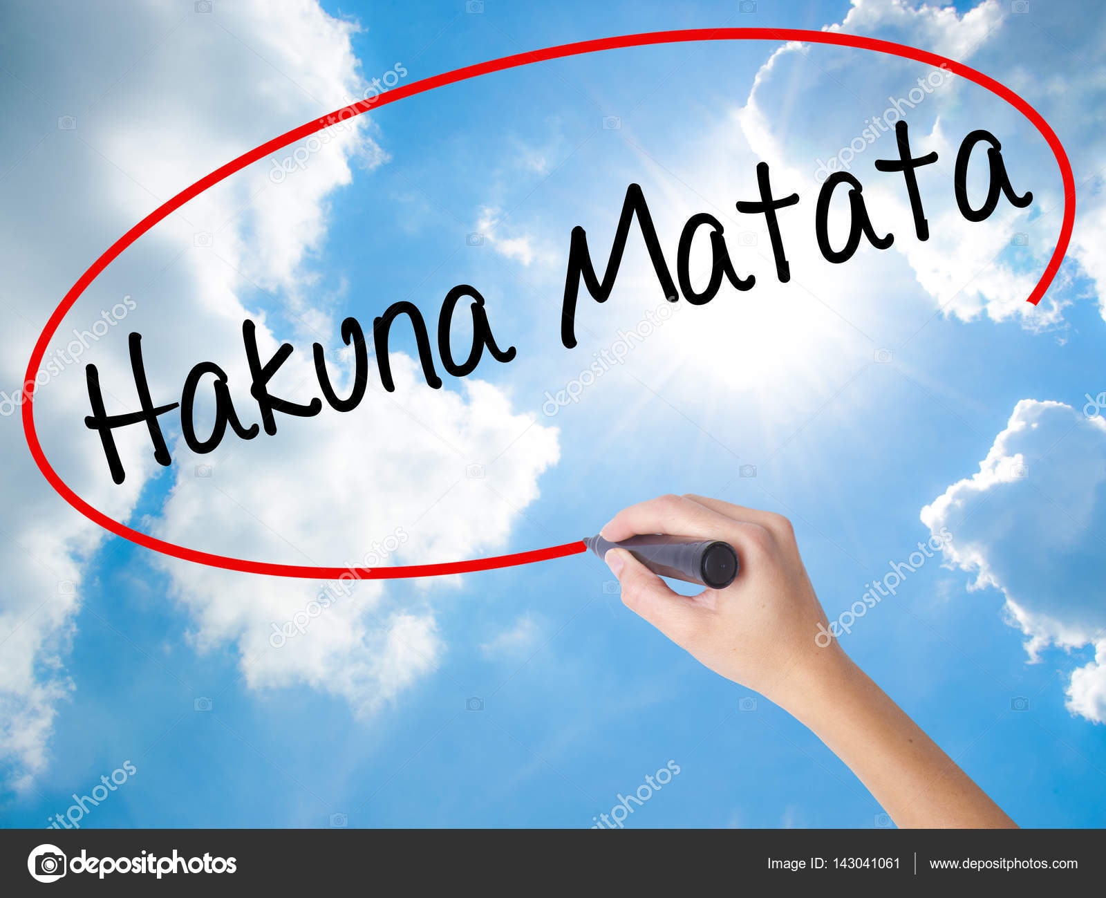 Mujer Mano Escritura Hakuna Matata Frase Swahili Significa Quot