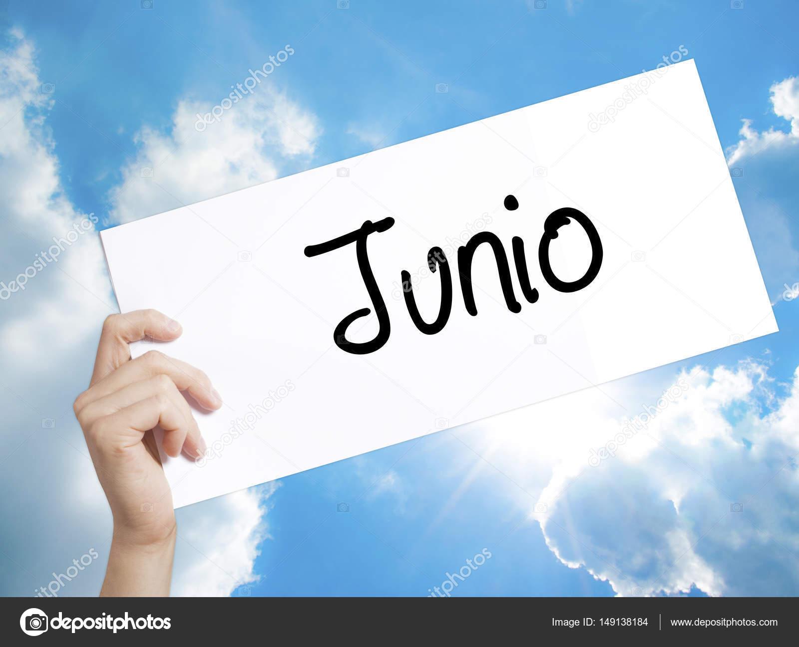 テキスト junio スペイン語の 6 月 の紙 男の手持ち株 sig ストック