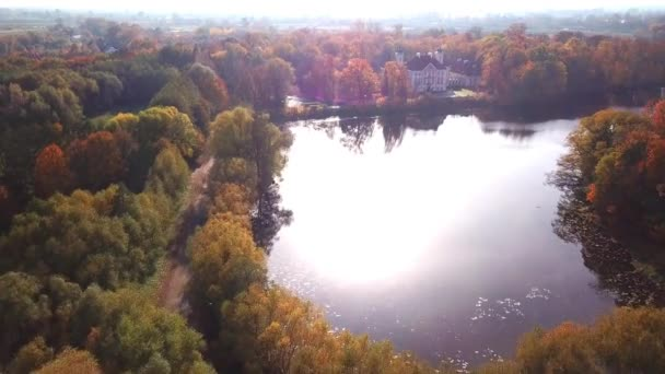 Flying over the beautiful Castle in autumn Forest. Located in landscape park with green trees forests in autumn. 4K Aerial View.