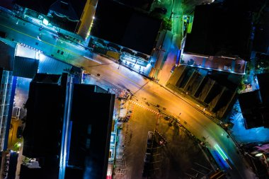 Top view of the nigh City. Night road of Asian megapolis aerial