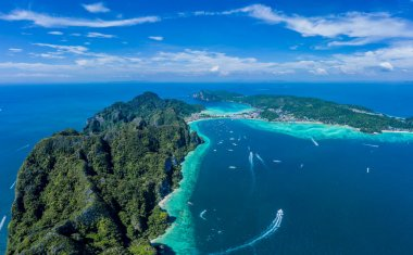 Aerial drone view of tropical turquoise water Maya Bay and limes