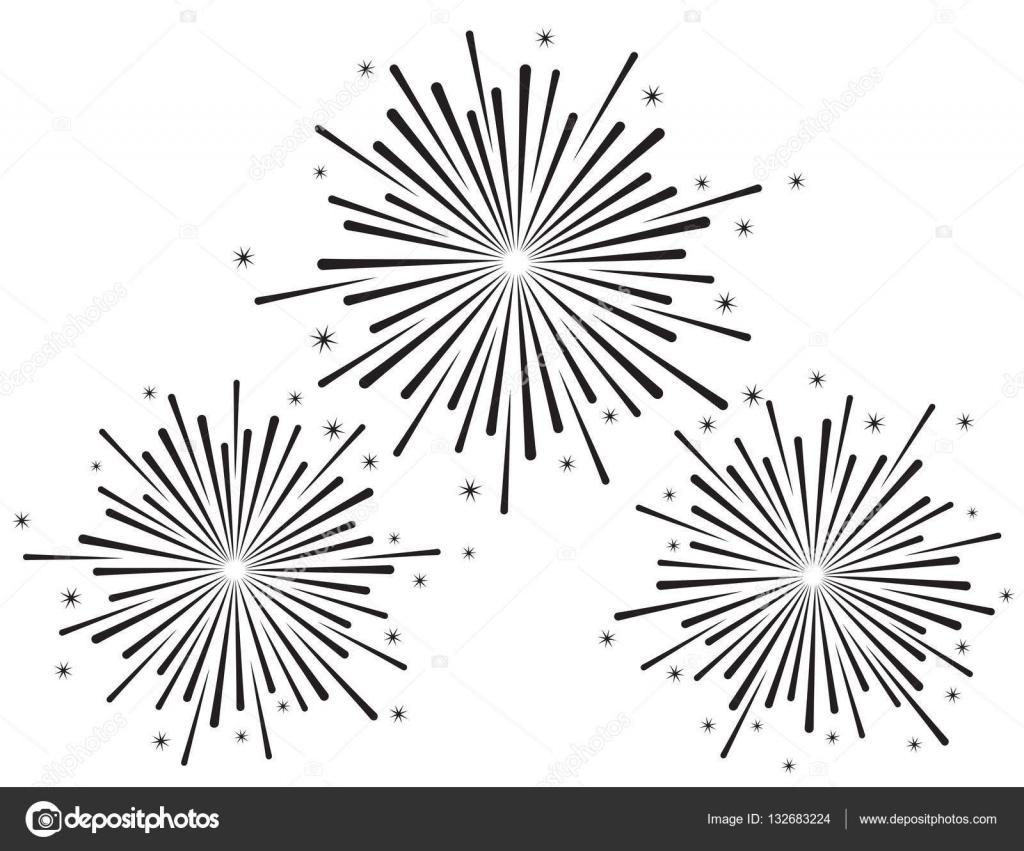 Ilustración De Vector De Fuegos Artificiales En Color