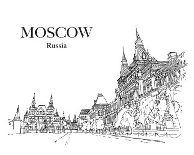 MOSCOW, RUSSIA: Historical Museum and GUM on the Red Square. Hand drawn sketch