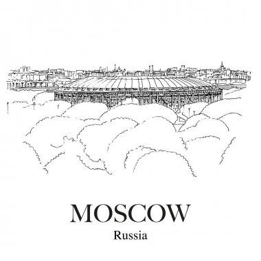 LUZHNIKI STADIUM, MOSCOW, RUSSIA: Panoramic view to the Luzhniki sport stadium from the observation deck near Moscow University. Hand drawn sketch