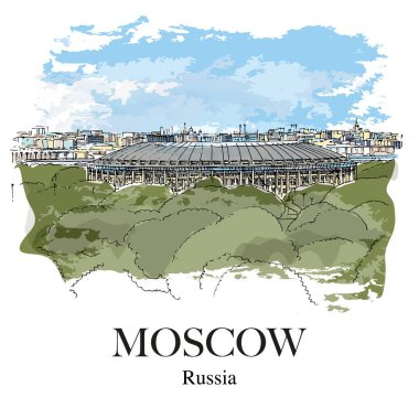LUZHNIKI STADIUM, MOSCOW, RUSSIA: Panoramic view to the Luzhniki sport stadium from the observation deck near Moscow University. Hand drawn sketch