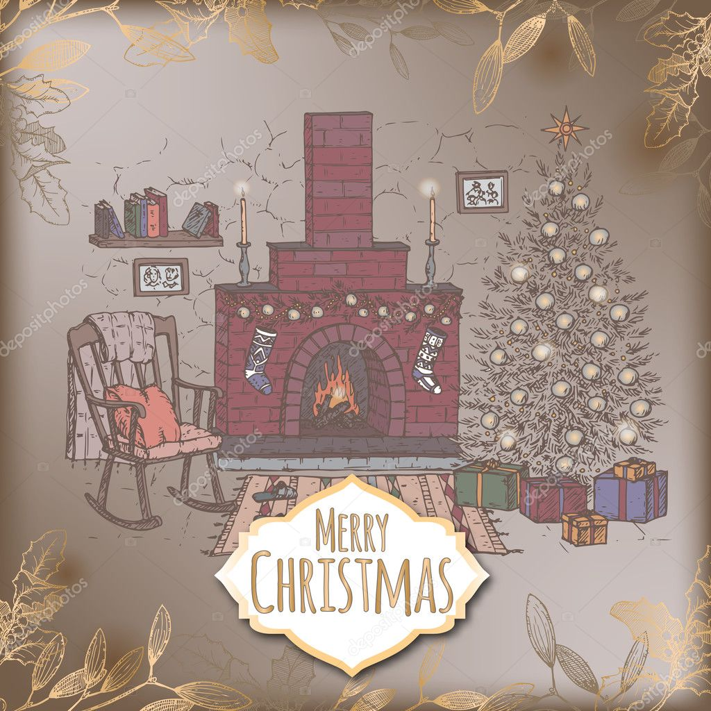 Vintage romantic Christmas card with color living room and fireplace ...