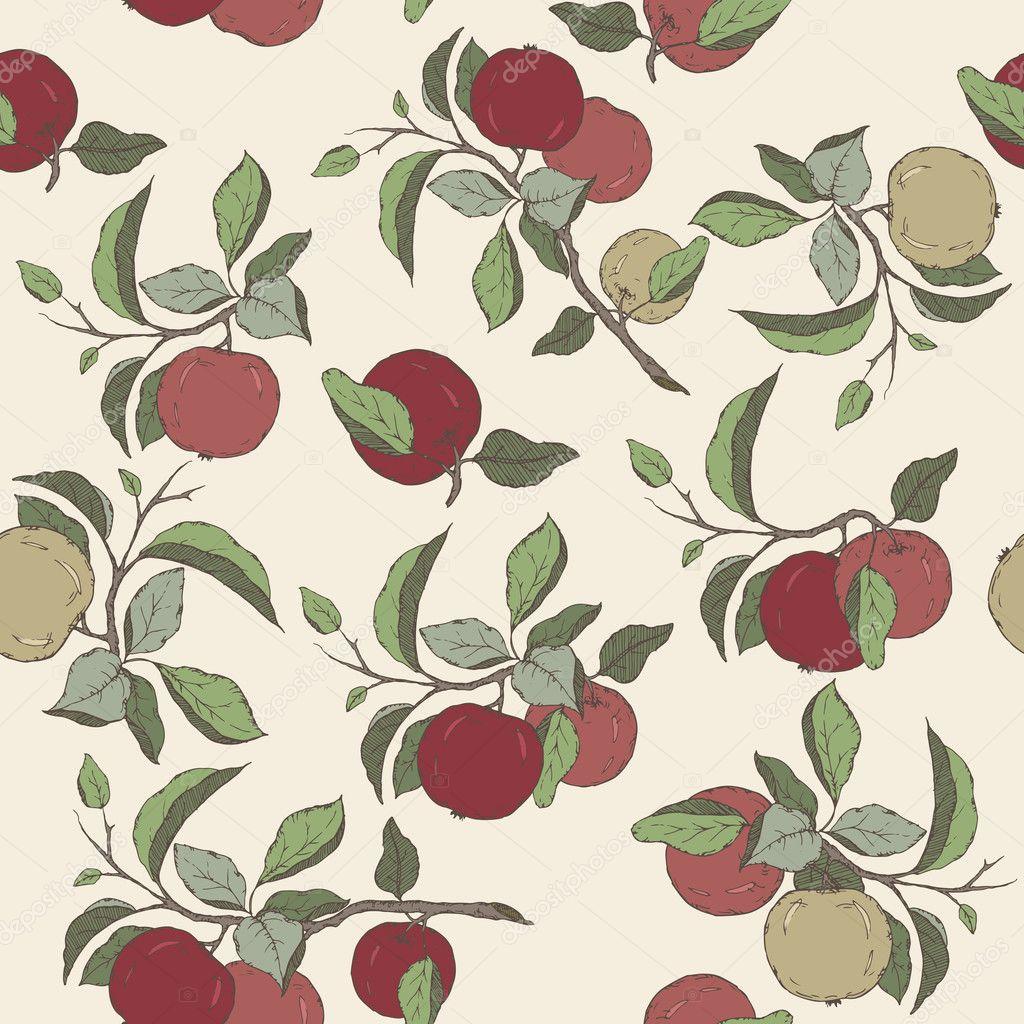 Nahtloses Muster mit Farbe Apfel Früchte und Blätter skizzieren ...