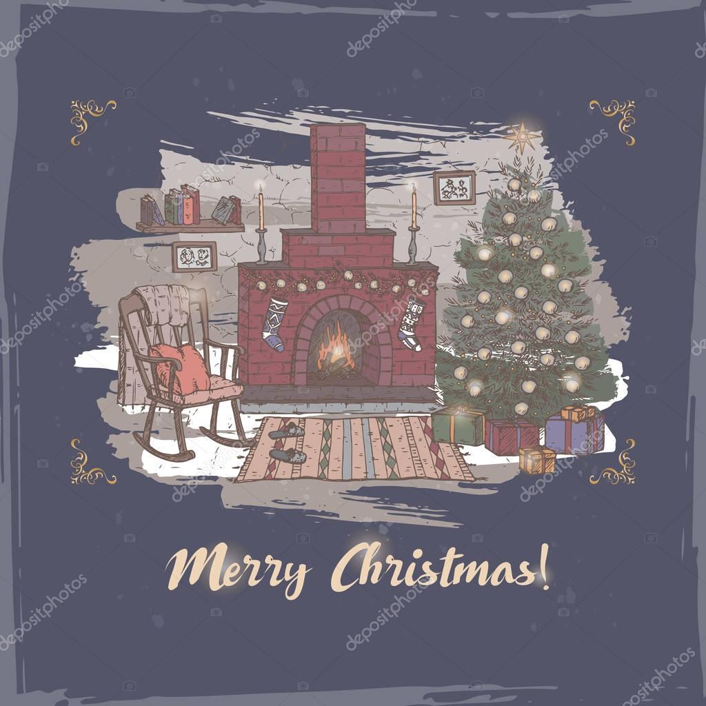 Weihnachtskarte Mit Farbe Wohnzimmer Und Kamin Auf Blau U2014 Stockvektor