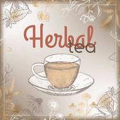 Popisek Vintage bylinné čaje s léčivými bylinami a pohár