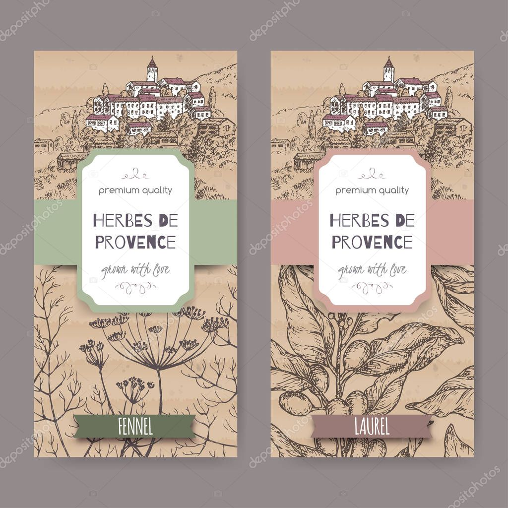 Two labels with Provence town landscape, fennel and laurel sketch.