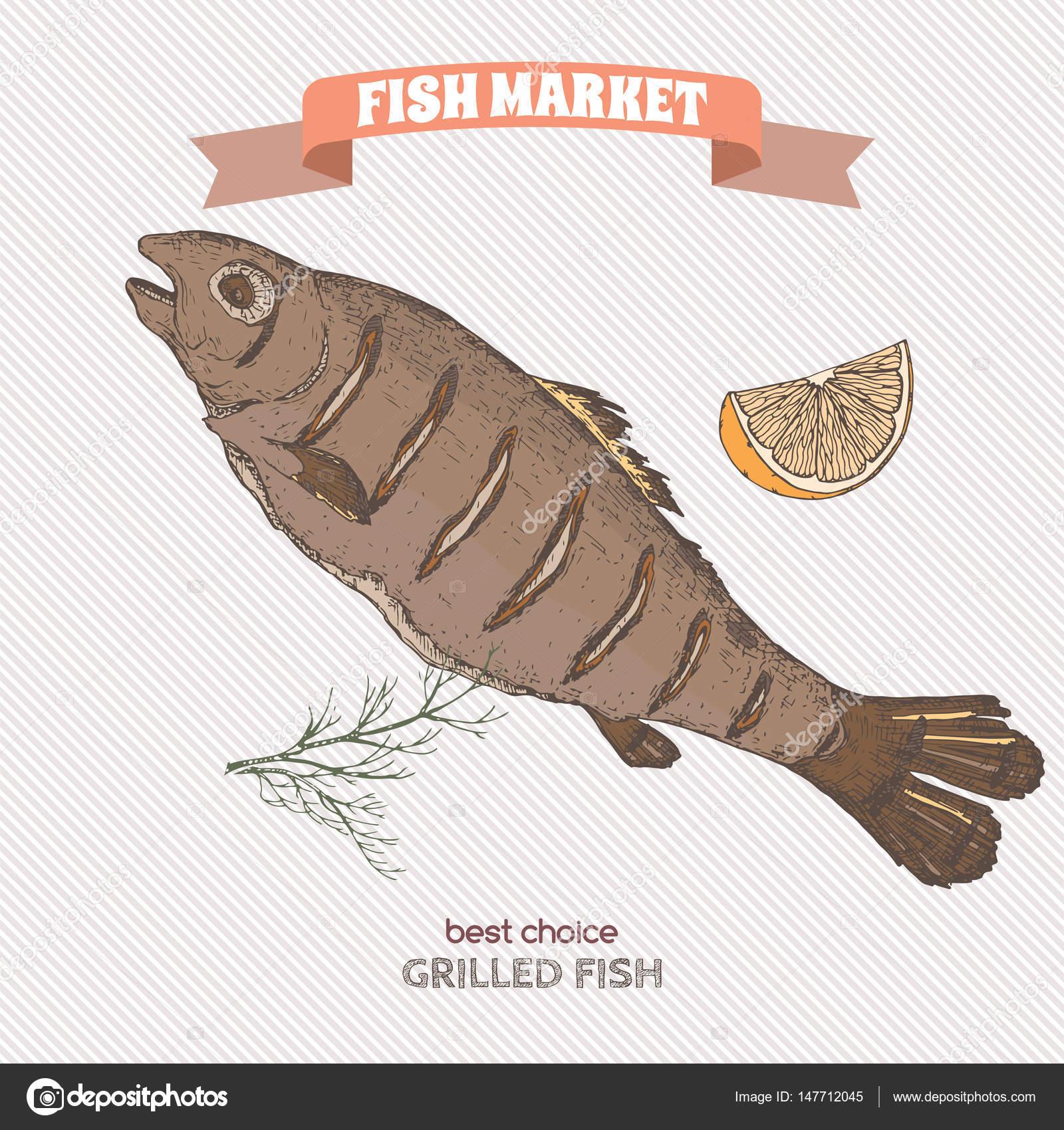 Color dibujo dibujado de mano pescado a la plancha — Vector de stock ...