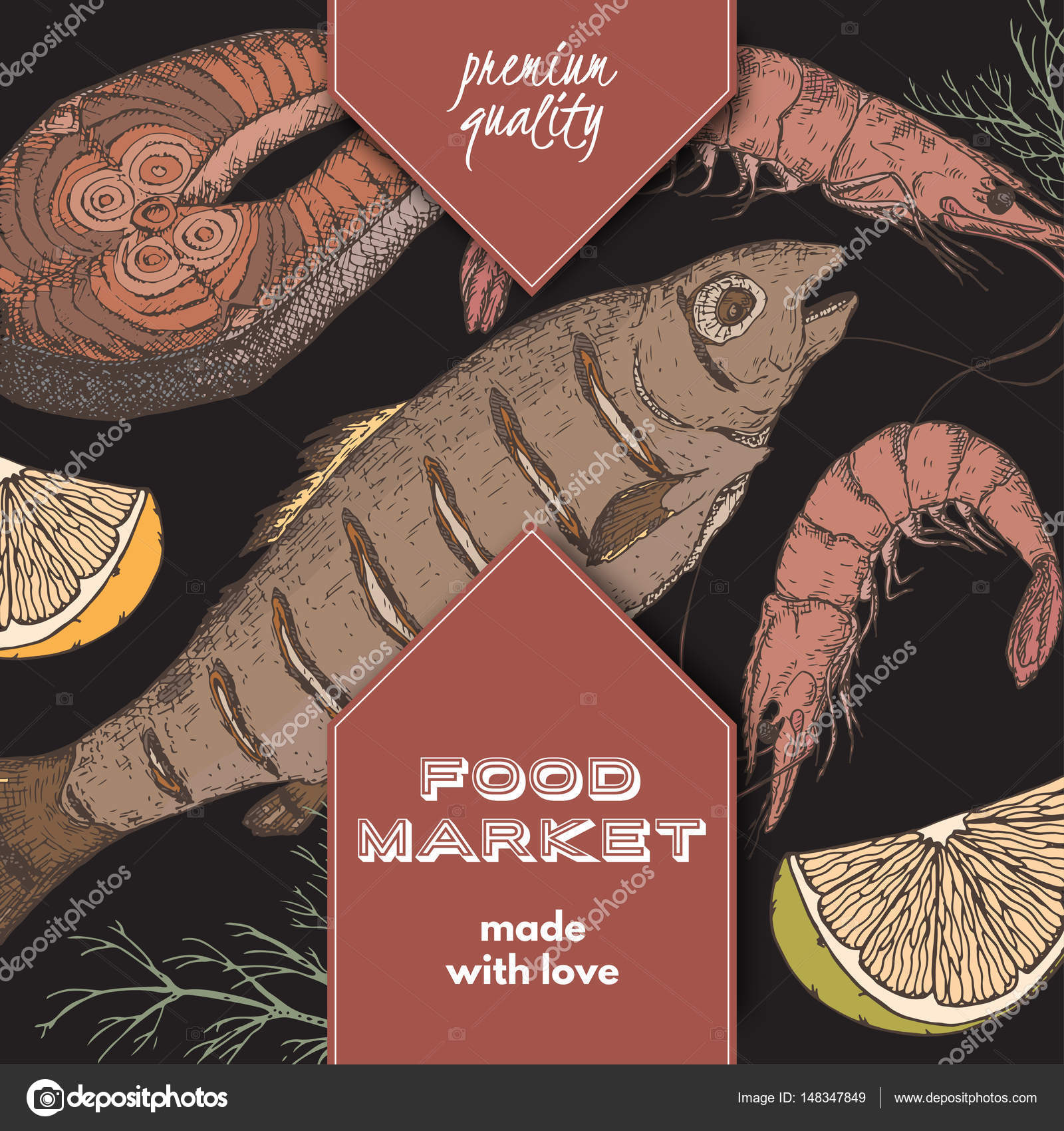 Color food market label with grilled fish, fish steak and shrimps ...