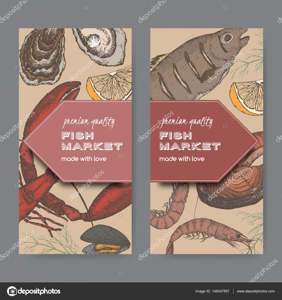 Two color fish market label templates with fish, lobster, seafood ...
