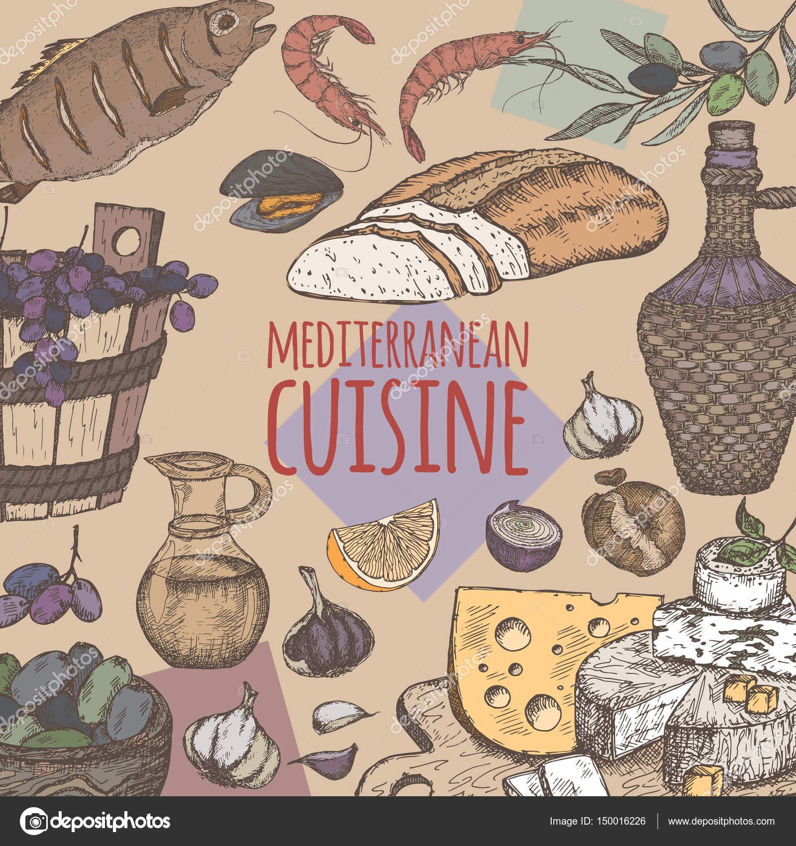 Kolor Potrawy Kuchni śródziemnomorskiej Szablon Z Chleba