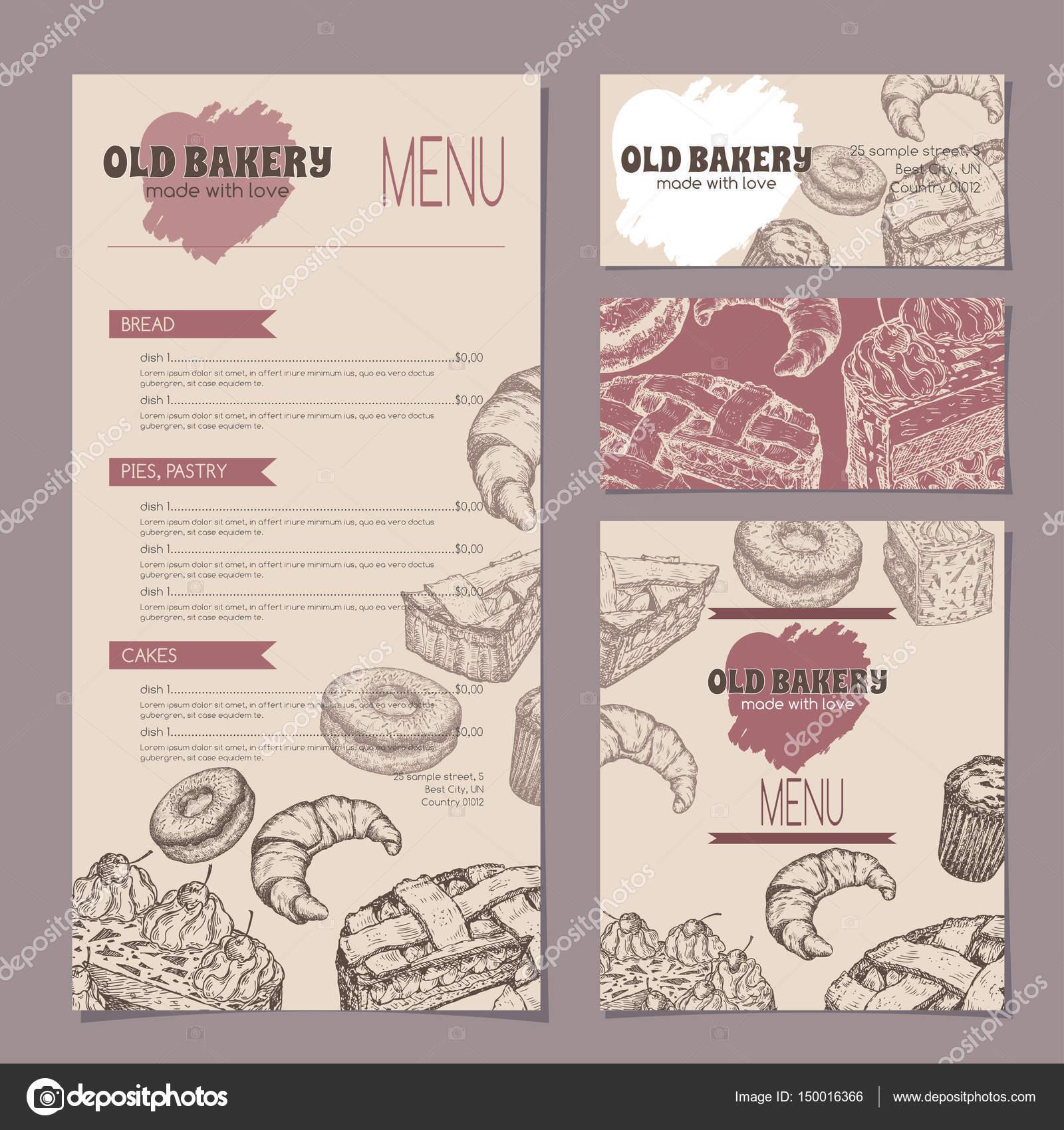Eine Gruppe von Bäckerei Shop Vorlagen mit Menü, Karten und ...
