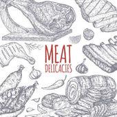 Fleischspezialitäten nach handgezeichneten Skizzen.