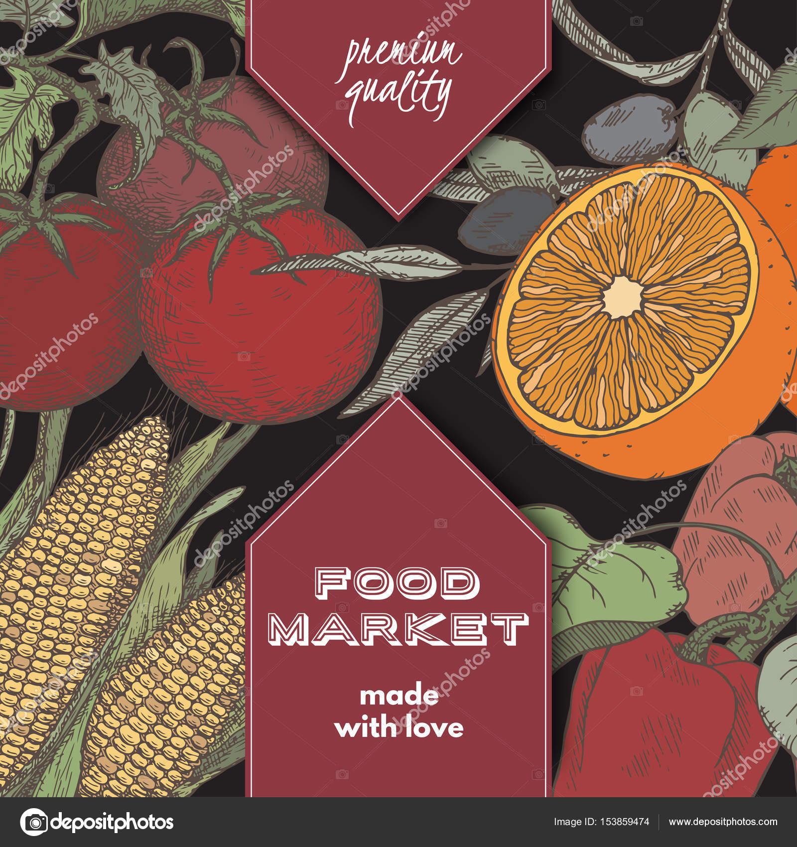 Farbe Essen Markt Etikettenvorlage mit Hand gezeichneten Skizze von ...