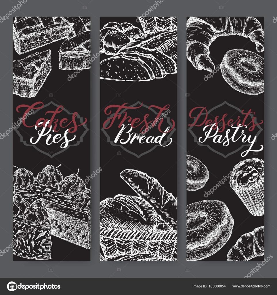 Conjunto de tres plantillas de etiqueta de panadería con el ...