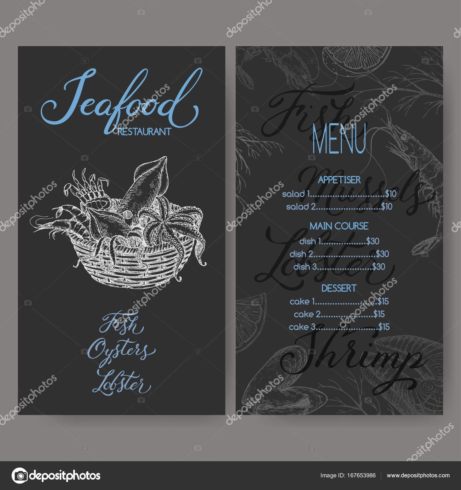 Restaurant-Menü-Template mit Skizze der Meeresfrüchte Korb ...