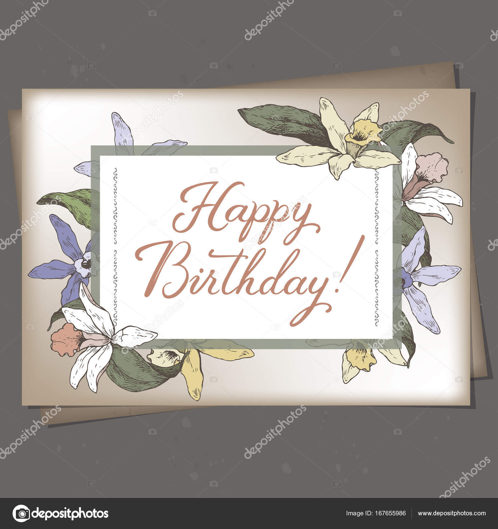 Landscape A4 Format Romantic Birthday Card Template With Calligraphy