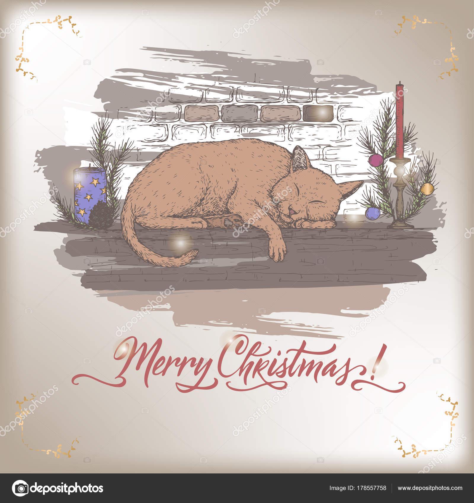 Vintage Farbe Weihnachten Karte Mit Katze Schläft Auf Verzierten Kamin  Kaminsimses Und Urlaub Pinsel Schriftzug