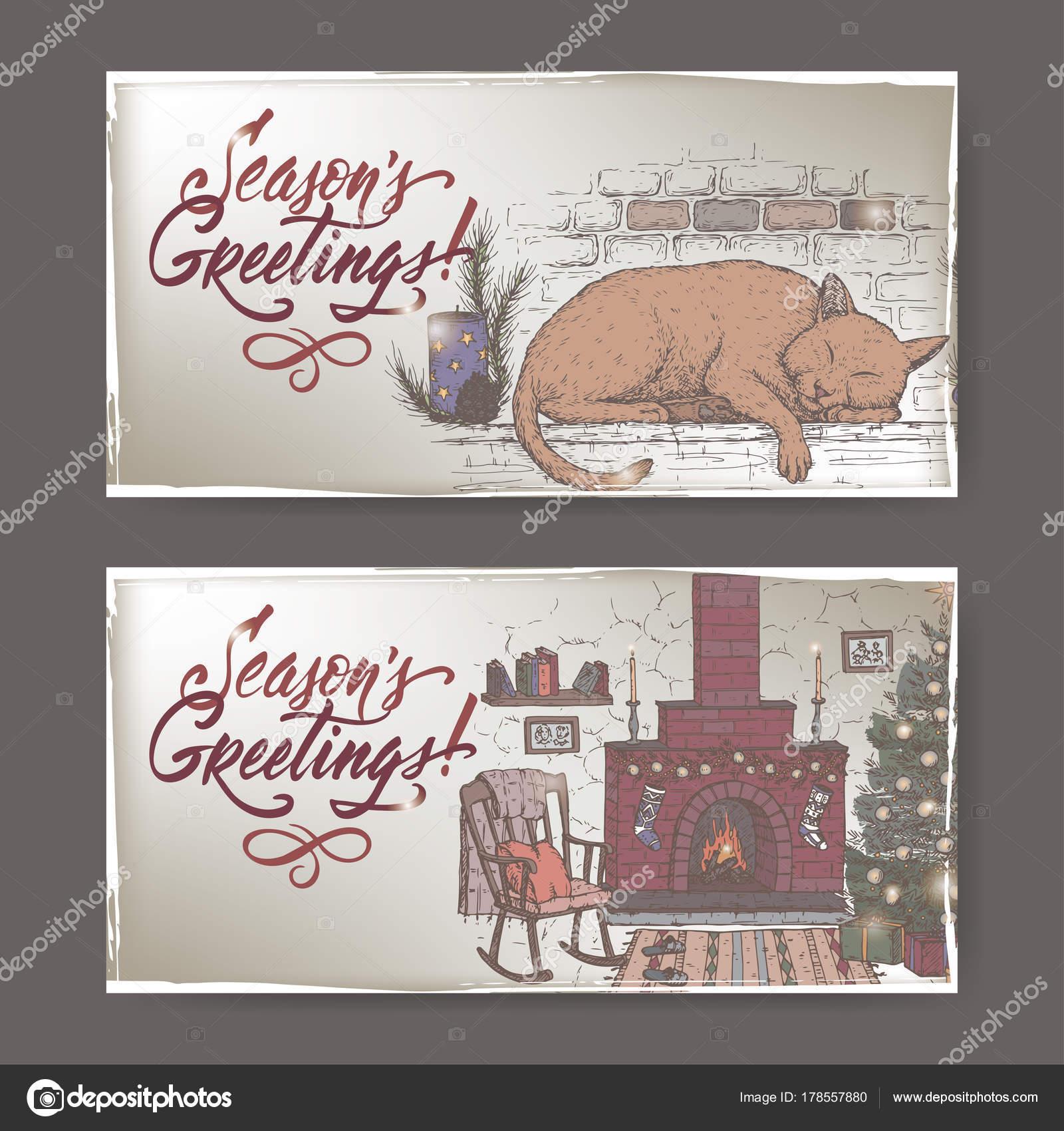 2 Farbe Christmas Banner Mit Gemütlichen Zimmer Mit Kamin, Kamin Kaminsimses  Und Feiertags Schlafende