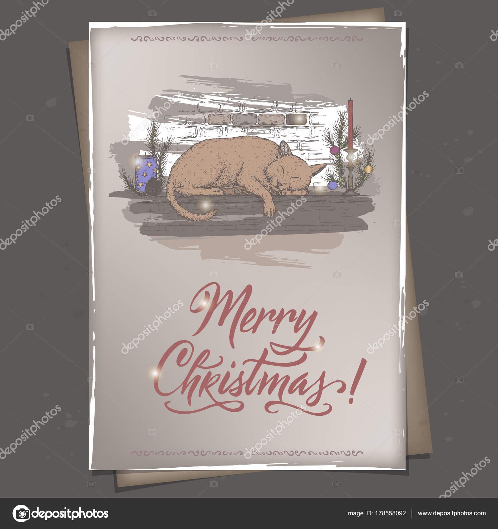Vintage Farbe A4 Format Weihnachtskarte Mit Katze Schläft Auf Dekoriert  Kamin Kaminsimses Und Urlaub